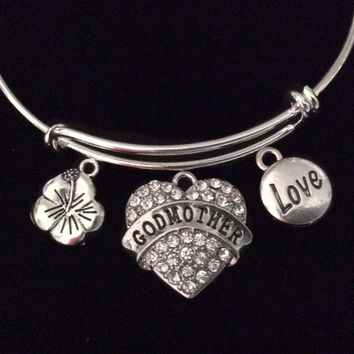 Crystal Godmother Heart Hibiscus Flower Love Expandable Charm Bracelet Silver Adjustable Bangle Trendy Gift Stacking God Mother