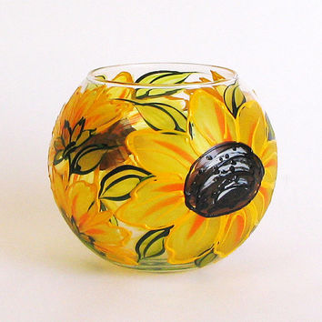 Hand painted glass vase- Sunflowers. Yellow vase. Tea light Candle. Candy Holder. Wedding vase. Birthday vase. Home decor. Mother's day gift