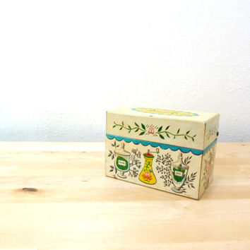 Vintage Metal Recipe Box / Small Rustic Box / Matchbox Holder / Sahbby Chic Box / Floral Match Holder