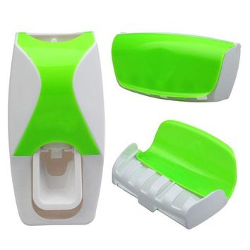 PEAPUNT Set Automatic Lazy Toothpaste Dispenser 5 Toothbrush Holder Wall Mount quality first