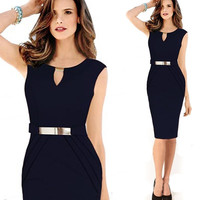 2014 New Vestido De Festa High Waist Bodycon Midi Pencil Dress Elegant Office Dress Celeb Evening Bandage Party Dress CD1359 = 1956578628