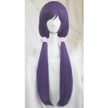 Cool High quality Anime LoveLive! Love Live Nozomi Tojo Wigs Halloween Synthetic Hair Long Purple Cosplay Costume Wig +Pink HairbandsAT_93_12