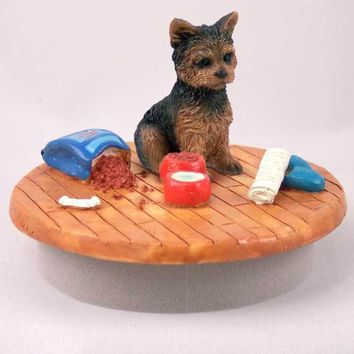 """YORKSHIRE TERRIER PUPPY CUT CANDLE TOPPER TINY ONE """"A DAY AT HOME"""""""