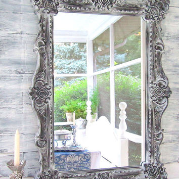 "Decorative Wall Mirrors DECORATIVE VINTAGE MIRRORS For Sale Large Mirror Mantel Mirror 41""x29"" Black White Framed Vanity Mirror Shabby Chic"
