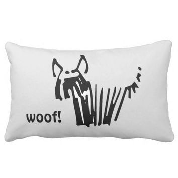 Cute Shaggy Dog, B&W, woof! Throw Pillow