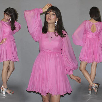Vintage 60s BALLOON SLEEVE Mini Dress / Barbie Pink Party Dress / Accordion Pleat Flirty Skirt / Chiffon Evening Dress, Bridesmaid, Birthday