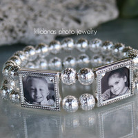 Photo Bracelet,  Silver Bracelet, Silver bracelet with pictures, photo bracelets, Holiday gift for mom and grandma,
