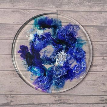 Trivet Coaster Home Decor, Art Resin and Alcohol Ink, One of a Kind, Handmade, Heat Resistant and Food Safe Small
