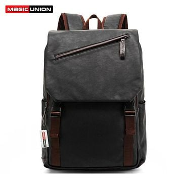 Leather Backpack Men's Casual & Travel Bags Oil Wax Leather Laptop Bags College Style Backpacks Zip