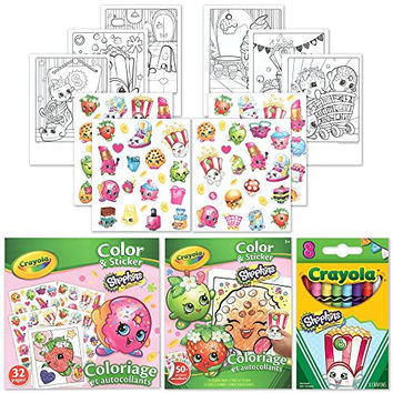 Shopkins 50 Stickers, 32 Coloring Pages and 8 Poppy Corn Crayola Crayons Activity Gift Set.