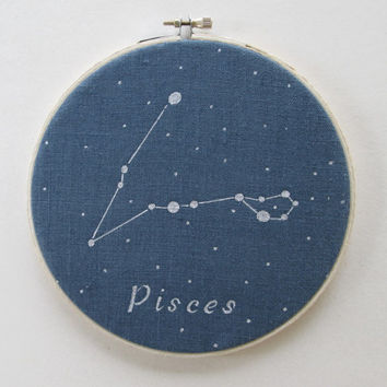 Hoop Art , Zodiac constellations, Pisces, Hand painted, Astrology, Constellations