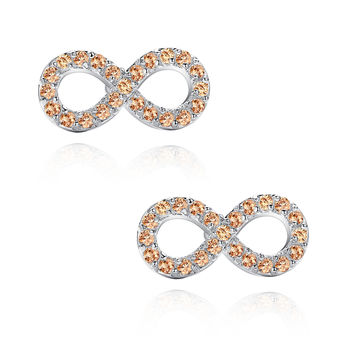 Infinity W. Amber Cubic Zirconia Stud Earrings