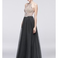 Beaded Bodice Halter Dress with Mesh Skirt - Davids Bridal