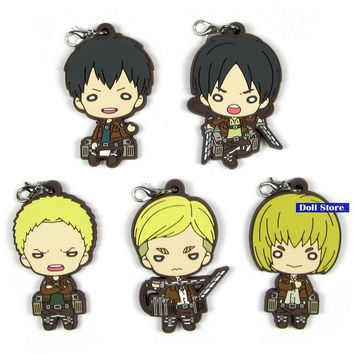 Cool Attack on Titan  Anime keychain Krista Lenz Rivaille Eren Armin Sasha Mantra Rubber strap/phone charms D195-20 AT_90_11