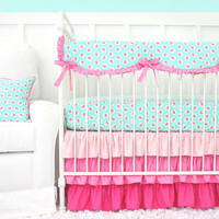 Molly's Mint Baby Bedding | Mint And Pink Crib Bedding