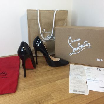 Christian Louboutin Black Heels Pigalle Shoes Patent Soles UK5 38