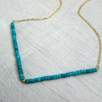 Turquoise Necklace, V Necklace, turquoise gold necklace