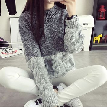 female sweater loose twist knitwear spell color autumn and winter new women pullovers thickened student clothing 16852