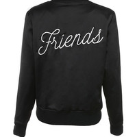 'Friends' Black Satin Bomber Jacket - Mistress Rocks
