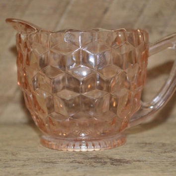 Vintage Pink Depression Glass Cream Dish Cubist Pattern, Vintage Creamer Dish, Pink Creamer Dish, Shabby Chic, Country Cottage