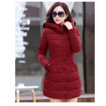 2015 Winter New Parkas For Women Thick Long Section red blue khaki black Down Cotton Hooded Jacket Plus Size M-XXL [8833968844]