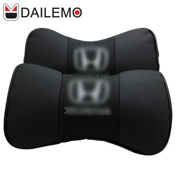 DAILEMO Leather Car Headrest High Quality 2Pcs Seat Neck Support Car Seat Cover Cushion Cover For HONDA CR-V Civic Accord CITY
