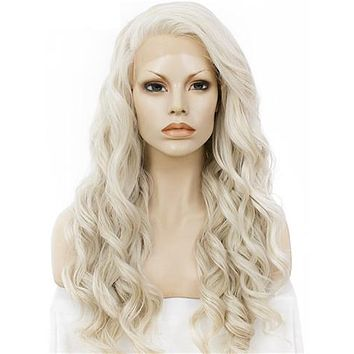 Long Ash Blonde Wave Synthetic Lace Front Wig
