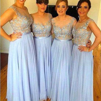 Formal Sky Blue Lace Chiffon Beach Long Bridesmaid Dresses 2016 Summer Wedding Party Dresses Sheer Neck Maids of Honor Dresses