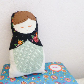 Fabric doll, matryoshka doll, stuffed doll, Russian doll, cotton fabric, ready to ship, nesting doll, handmade, brunette doll, cute doll