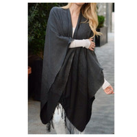 Ombre' Style Fringe Accent Black, Grey Poncho