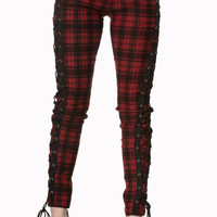 Gothic Punk Rock Funky Plaid Check Side Corset lace-up jeans Skinny Jeans Pants