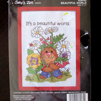 Counted Cross Stitch Beautiful World Kit 5 x 7 Vintage 1980s Framed Janlynn Suzy's Zoo