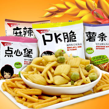 4 bags pack New Chinese Food 4 Flavors Delicious Snack Crisp Crab Crispy Haricot Vert French fries Chips Gift for Children