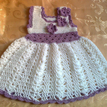 Baby Girl Newborn Outfit Dress White Purple Lilac Shower gift Photo prop Take home First Outfit Baptism Christening Infant