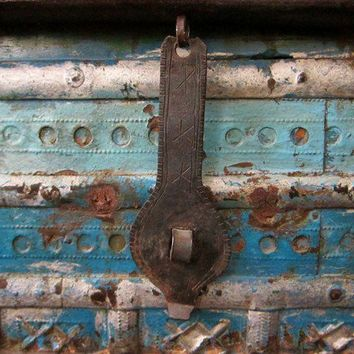 Blue Upcycled Trunk Table by hammerandhandimports on Etsy