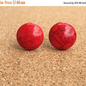 Back To School Sale Earrings Red Resin Turquoise  Earrings Resin Boho Earrings 14MM Earrings