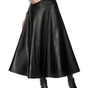 CREYET7 Long Skirts Womens Summer Hight Waist Maxi Skirt PU Leather Slim Spring Autumn Vintage Fashion Pleated Swing Skirt Black