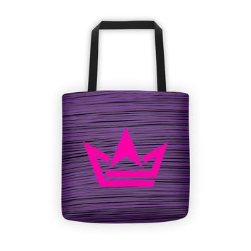 Purple Pin Stripe w/ Crown Logo Tote bag