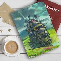 Howl's Moving Castle Leather Passport Wallet Case Cover