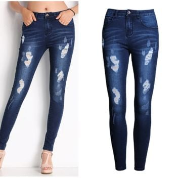 Washed and polished white slim pants, small leg pants, jeans