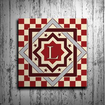 Stars and Checkers Barn Quilt with Initial Monogram
