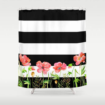 Black and White Stripe with Poppies Shower Curtain - Chic Designer Decor  - bold floral, bathroom, modern home, decor