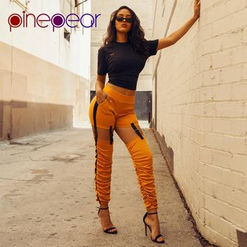 PinePear 2019 Punk Rock Women Pants Female Trousers Elastic Pleated Buckle Hollow Out Skinny Pencil Pants Nightclub Clubwear