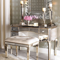 Claudia Mirrored Vanity & Vanity Seat