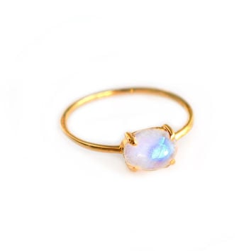 Rainbow Moonstone Solo Claw Ring