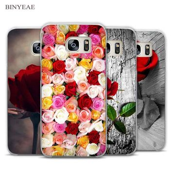 BINYEAE Garden Red Roses Flowers Clear Phone Case Cover for Samsung Galaxy Note 2 3 4 5 7 S3 S4 S5 Mini S6 S7 S8 Edge Plus