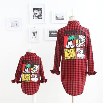 CREYL 2016 Autumn New Girl Shirts Family Matching Outfits Mouse Cartoon Red Plaid Long Sleeve Fashion Shirts 2-7T M05