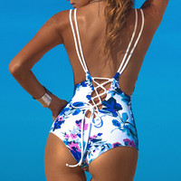 Hollow Out Print Strappy One Piece Swimwear Bikini Swimsuit