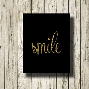 Smile Black Gold Glitter Printable Instant Download Digital Art Wall Art Home Decor G0172b