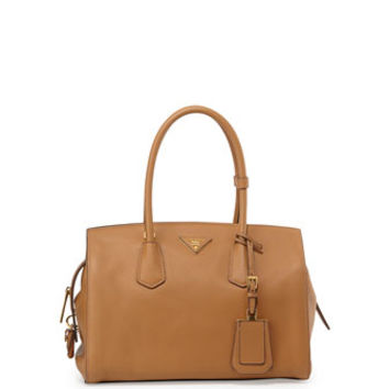 PRADA Vitello Grain Satchel, Tan (Sesamo)